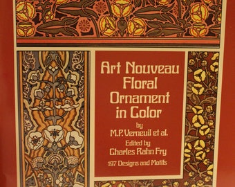 Free Shipping!! Art Nouveau Floral Ornament in Color by M. P. Vernevuil et al. - New - SNSS3