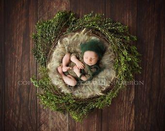 Newborn Digital Backdrop - Natural Nest with Fresh Leaves