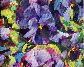original pansy painting | original pansy art | floral home decor | floral decor art | floral painting | pansies art | wall art | home decor