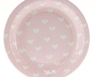 Pink Plates with White Hearts | Baby Shower | Heart Plates | Party Plates Pink Plates | 1st Birthday | Birthday Party | Christening | Plates