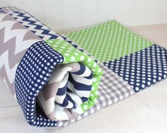 Baby Blanket, Nursery Decor, Baby Bedding, Minky Baby Blanket, Baby Shower Gift, Green, Navy Blue, Navy, White, Gray, Grey, Baby Boy