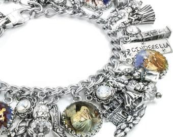 Cinderella Charm Bracelet, Silver Charm Bracelet, Cinderella Jewelry, Fairytale Charm Bracelet, Cinderella Bracelet