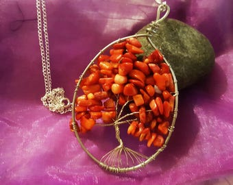 Red Wire Tree Pendant