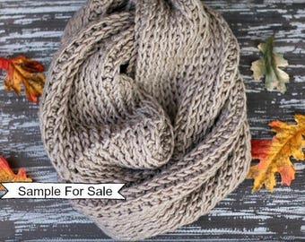 Crochet Scarf, Chunky Crochet Scarf, Taupe Scarf, Infinity Scarf, Infinity Cowl, Crochet Infinity Cowl, Loop Scarf, Crochet Loop Scarf