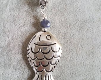 Silver Plated Fish, Blue stone, Necklace