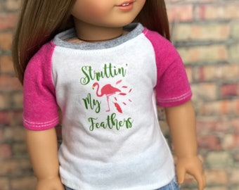 18 Inch American Made Doll Clothes | Flamingo Struttin' My Feathers Graphic Pink Short Sleeve BASEBALL TEE for 18 Inch Doll