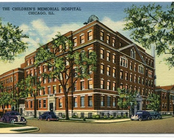 Children's Memorial Hospital Chicago Illinois linen postcard