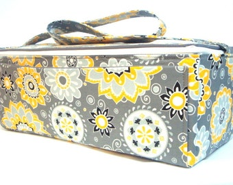 Super Double Wide Large 6 inch Depth  Fabric Coupon Organizer - With ZIPPER CLOSER  Sunshine Floral