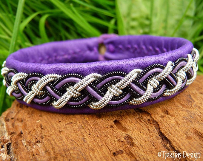 Sami Bracelet NIFLHEIM Nordic Viking Cuff Bracelet in silksoft Purple Leather with Spun Pewter and Black Copper Braid - Handmade Unisex Cuff