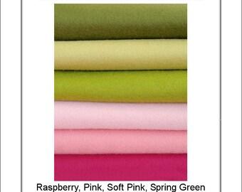 Pure Wool Felt - Pink & Green Shades - 6 squares - Australian Merino Wool