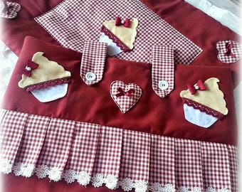 Cooking, cooker, curfew, cooker, kitchen complete, copriforno, curfew, pot holder, set, gift idea, handmade, creative sewing, cupcake
