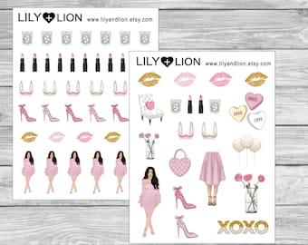 Date Night Planner Stickers - Love Valentines Day - Pink Blonde Brunette Dark skin Lips Heels Flowerd candle - Erin condren Plum Paper Diary