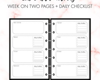Happy Planner Mini Size Week on Two Pages Laurel Border Horizontal Insert Printable