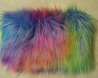 Furry Fuzzy Pastel Rainbow Zippered Coin Purse Pouch