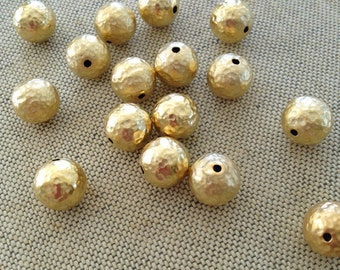 22K Gold Plated Brass Bead, Hammered Gold Beads, 10mm, 6pcs