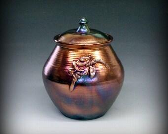 Raku Urn, Raku Pottery, Raku Lidded Pot with Frog in Metallic and Iridescent Colors
