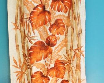 Retro 1970s Vintage Drapes with Floral Design, Retro Textiles, Monstera Deliciosa Pattern, Vintage Textiles, Vintage Cotton Curtains