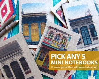 Mini Notebooks Gift Set of 5 - Colorful Indie Handmade Pocket Journals in Your Choice of Covers