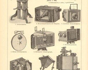 1896 Vintage Photo Cameras, Photo Apparates Original Antique Engraving to Frame
