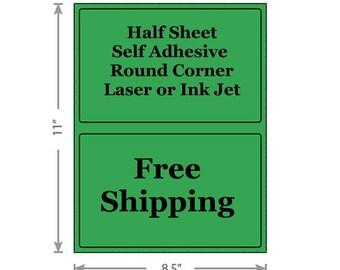 Standard Green Shipping Labels 8.5x5.5 Half Sheet Self Adhesive Etsy PayPal Stamps USPS InkJet Laser Free Same Day Shipping