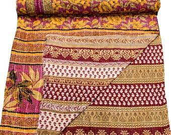 A Vintage Handmade Kantha Quilt, Boho Bedding, Vintage quilt, Kantha Throw, Reversible Quilt VKQ1684