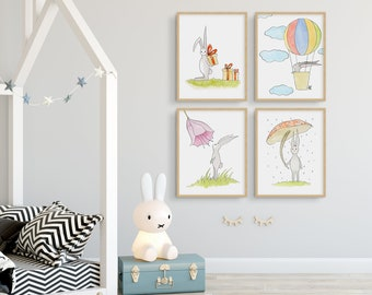 Set of 4 Rabbit Prints Wall Art, Nursery Animal Decor, Easter Decoration, Bunny Watercolor, Baby Animal Prints, Bunny Art