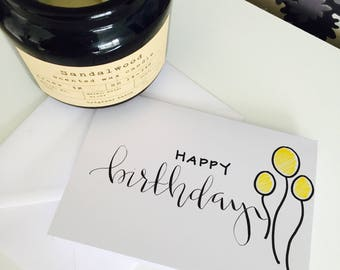 Happy Birthday / custom calligraphy card