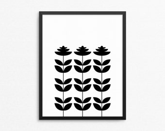 Flowers Poster, Scandinavian Design Art, Scandinavian Flowers, Print Kitchen, Retro Style Art, Modern Retro, Flowers Print, Black And White