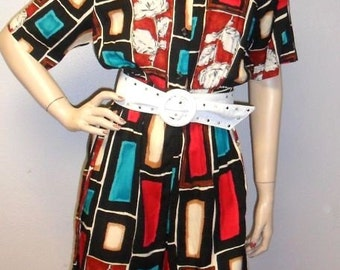 Vintage 90's Artsy Colorful Rayon Romper-Playsuit --unworn still has tag--Sz M