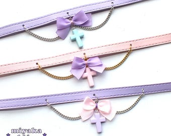 cross collar choker pastel goth gothic lolita alternative kawaii creeepycute cute harajuku