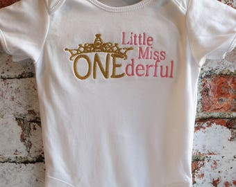 Little Miss Onederful, 1st birthday, Girls vest