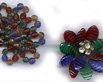 vintage findings colorful glass beads COLOR BLEND western germany embellishment take apart antique inspiration repurposing