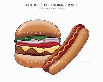 Cheeseburger Hotdog Clipart, Burger Clipart, Food Clipart, Hot Dog Clipart, Food Set Clipart Files, Summer Food Clipart Digital Download