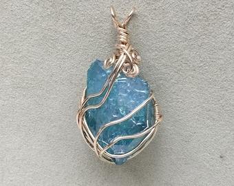 Large Aqua Aura Quartz 14kt Gold Filled Wire Wrapped Pendant, Aqua Aura Quartz Point crystal jewelry, Aqua Aura Quartz wrapped pendant