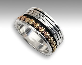 Two tones meditation band, silver wedding ring, meditation ring, silver Gold band, floral spinner ring - You'll be in my heart. R1738AG