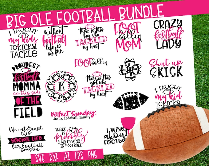 BUNDLE, Football, SVG, Cutting File, Cricut, Silhouette, DXF, Ai, Eps, Png, Grunge, Monogram, Game, Sunday, Mom, Momma, Quotes, Set, Sale