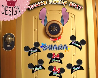 Lilo & Stitch 'Ohana' Personalized Disney Cruise Door Magnet Printables- Use as Disney Cruise Door Decorations and Clip Art