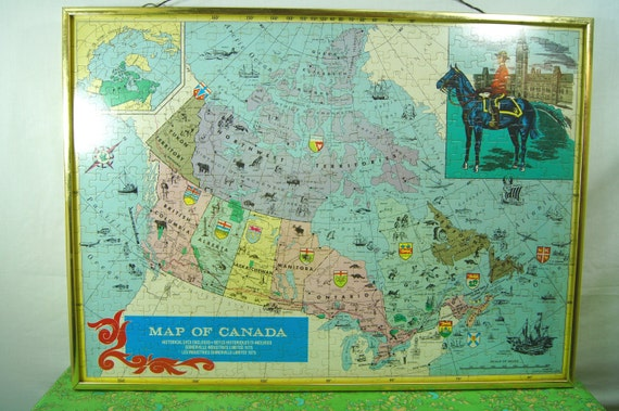 Vintage Framed Map of Canada Canada Puzzle Wall Hanging