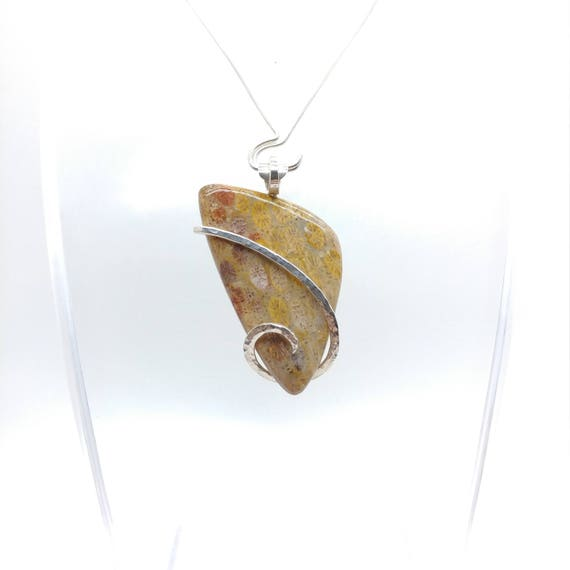 Fossil Coral Necklace | Fossil Coral Pendant | Sterling Silver Pendant | Fossil Necklace | Fossil Pendant | Simple Stone Pendant