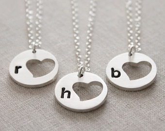 Initial Heart Necklace Gift, Personalized Gift for Her, Sterling Silver Initial Necklace, Gift for Women