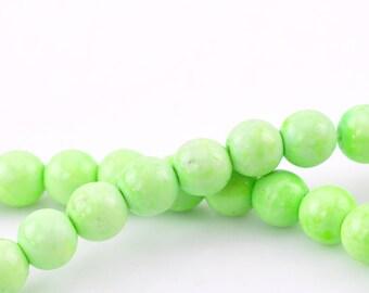 set of 10 Green 8 mm howlite stone round beads