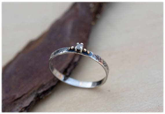 Items Similar To Raw Diamond Engagement Ring: Dainty
