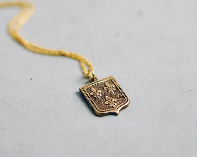 Shield Necklace, Fleur De Lis Pendant, Gold Necklace, Gold Jewelry