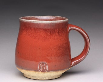 pottery mug, ceramic tea cup, handmade coffee cup with bright red and green celadon glazes