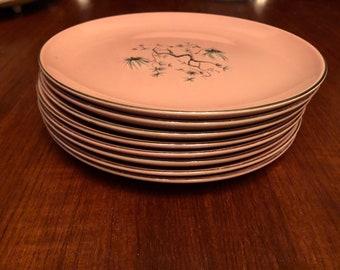 Set of Eight (8) Vintage 1950s Taylor Smith Taylor Dwarf Pine Pink Salad Plates