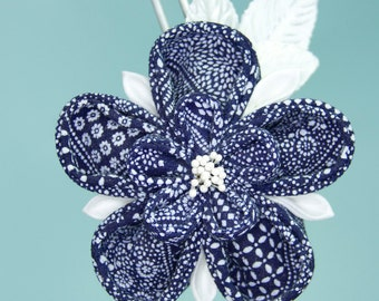 Navy Blue, White Upcycled Ume Flower Kanzashi OOAK Hairpin, Kimono Fabric, Homecoming, Wedding, Formal, Semiformal, One of a Kind