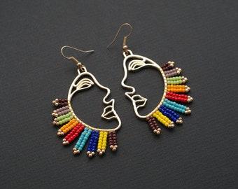 Rainbow Earrings, Colorful Earrings, Gold Profile Earrings, Face Earrings, Pink Plume Earrings, Picasso Style Earrings, Hollow Face Earrings