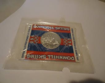 Vintage 1990's General Mills U.S. Olympic Downhill Skiing Commemorative Medallion Token In Sealed Package, collectable
