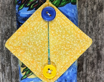 Kleenex Cover, Travel Tissue Holder, Pocket Tissue Cover, Starry Night, Blue and Yellow