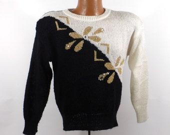 Flashy Gem Sweater Vintage 1980s Knit Oversize Black Ugly Christmas Holiday Tacky Women's size M